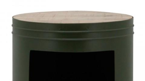 Bout de canapé rond en métal vert et manguier - Collection Many