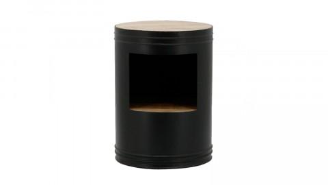 Bout de canapé rond en métal noir et manguier - Collection Many