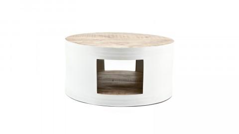 Table basse en métal blanc et manguier - Collection Many