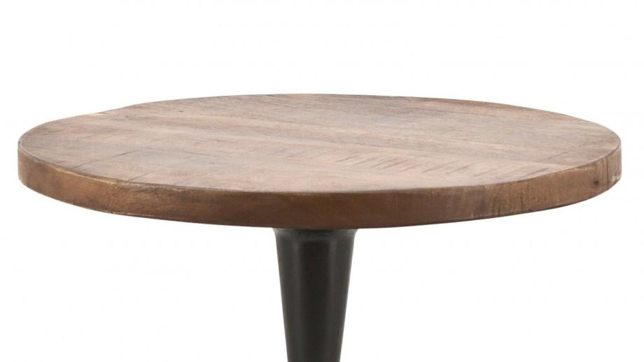 Table basse ⌀50cm en manguier piètement en métal noir - Collection Tornado