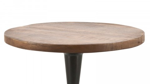 Table basse ⌀50cm en manguier piètement en métal noir - Collection Tornado