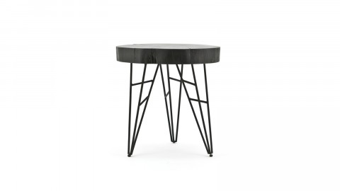 Table d'appoint en manguier et métal noir - Collection Kaly