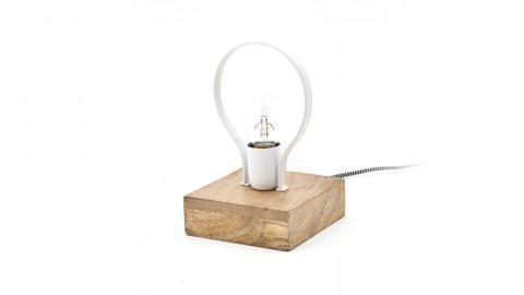 Lampe à poser design en bois et métal blanc - Collection Picard