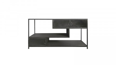 Table basse en métal noir rangements intégrés - Collection Tuck