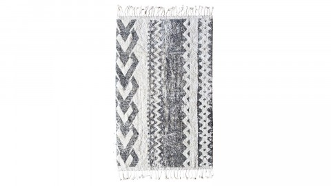 Tapis ethnique noir et blanc à franges 120x180cm - Collection Teddy