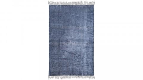 Tapis uni bleu à franges 120x180cm - Collection Mono