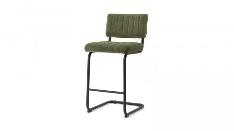 Lot de 2 chaises de bar basses en velours vert piètement métal - Collection Operator
