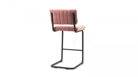 Lot de 2 chaises de bar basses en velours vieux rose piètement métal - Collection Operator