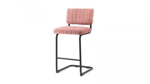 Lot de 2 chaises de bar en velours vieux rose piètement métal - Collection Operator