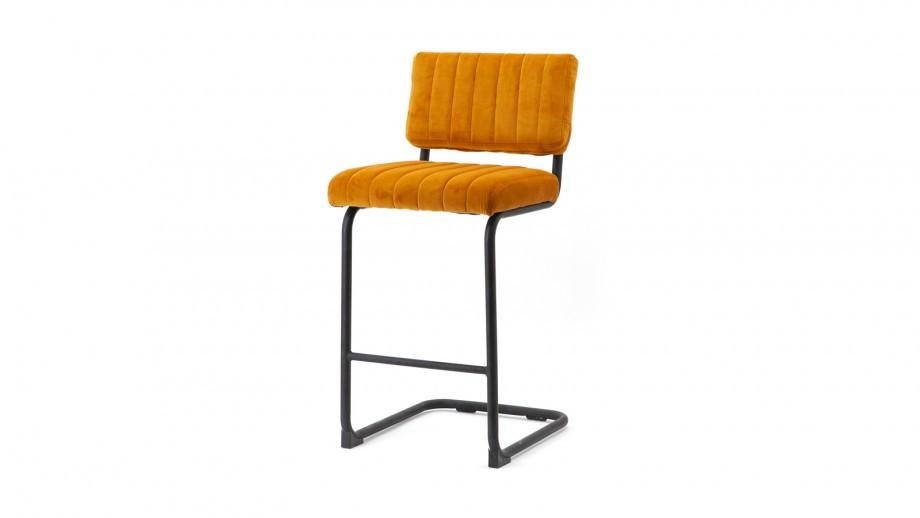Lot de 2 chaises de bar basses en velours ocre piètement métal - Collection Operator