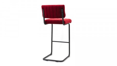 Lot de 2 chaises de bar hautes en velours rouge piètement métal - Collection Operator
