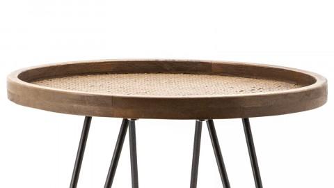 Bout de canapé ⌀45cm en chêne piètement métal - Collection Drax