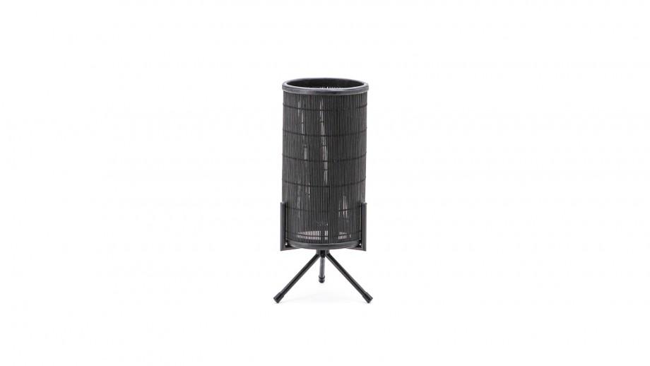 Lampe à poser en rotin et métal noir - Collection General