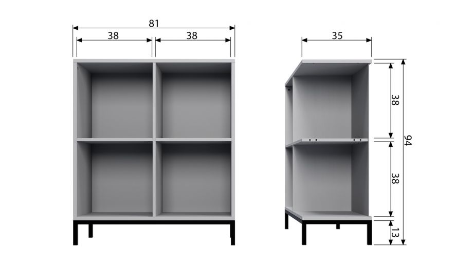 Meuble de rangement 4 niches en pin gris et métal - Vtwonen