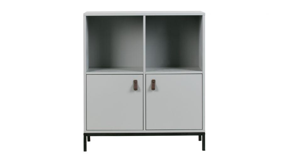 Meuble de rangement 2 niches 2 portes en pin gris et métal - Vtwonen