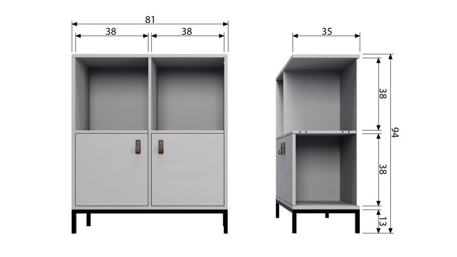 Meuble de rangement 2 niches 2 portes en pin gris et m tal vtwonen homifab - Meuble de rangement 2 portes coulissantes ...