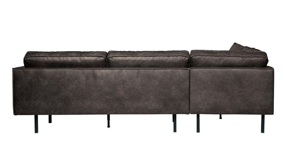Canapé d'angle gauche 6 places en cuir noir - Collection Rodeo - BePureHome