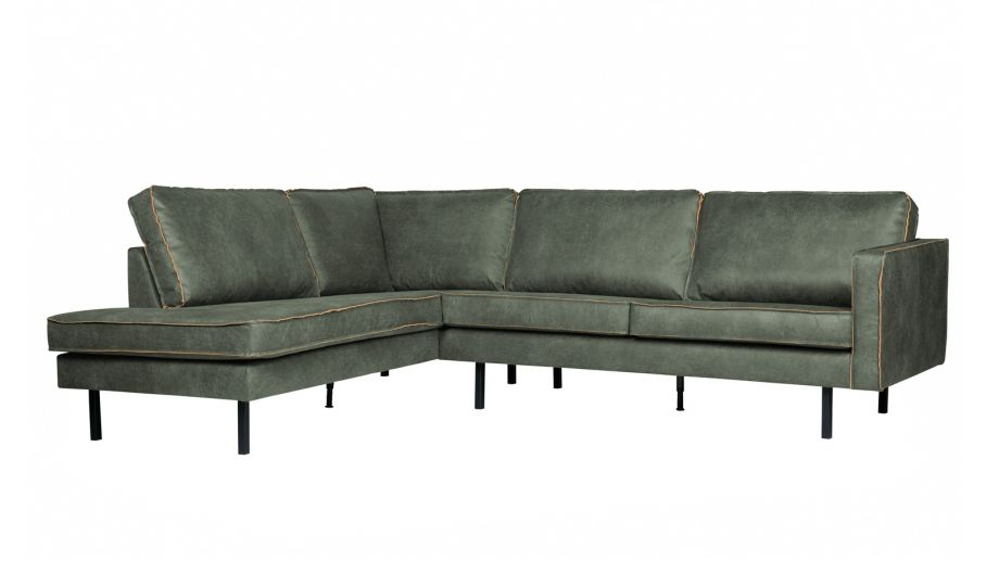Canapé d'angle gauche 6 places en cuir army - Collection Rodeo - BePureHome