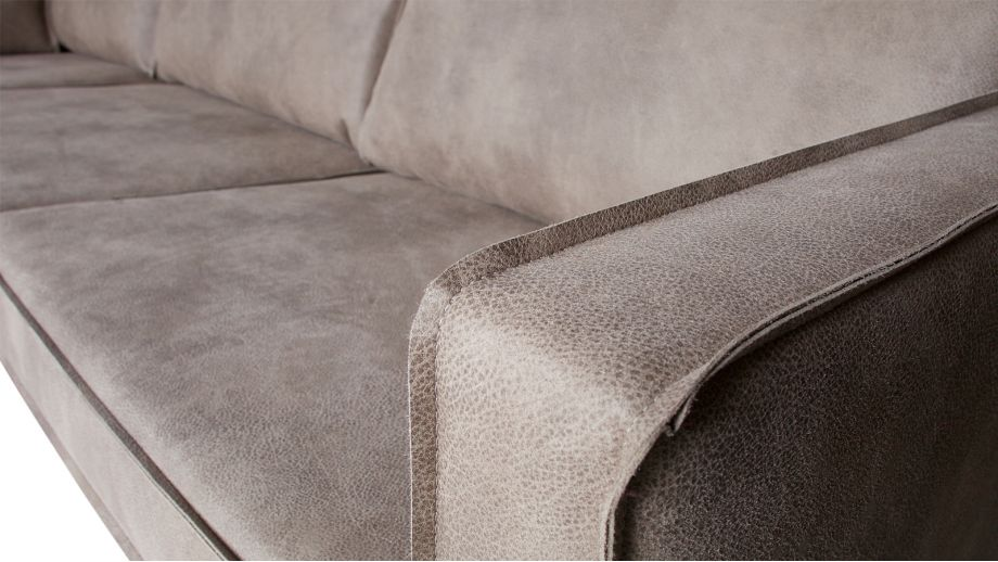 Canapé d'angle gauche 6 places en simili cuir gris - Collection Rodeo - BePureHome
