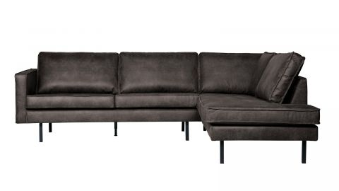 Canapé d'angle droit 6 places en cuir noir - Collection Rodeo - BePureHome