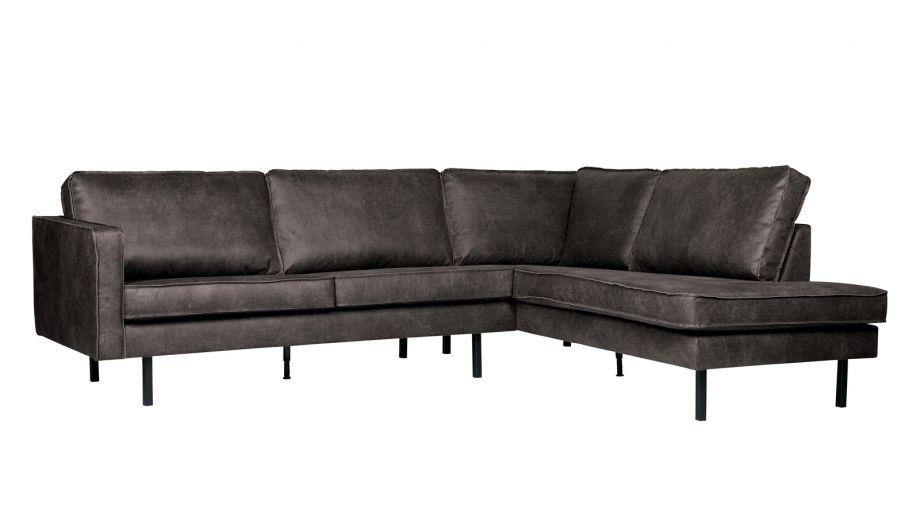 Canapé d'angle droit 6 places en cuir noir - Collection Rodeo - BePureHome