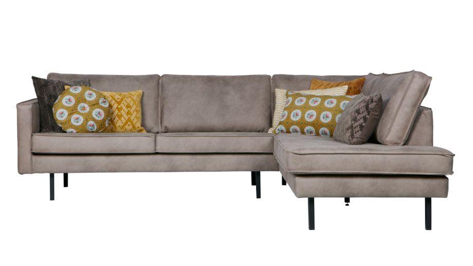Canapé d'angle droit 6 places en simili cuir gris - Collection Rodeo - BePureHome