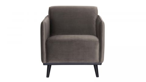 Fauteuil en velours taupe - Collection Statement - BePureHome