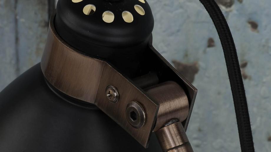Lampe de bureau base en ciment structure en métal cuivré et noir - Collection Denver - It's About Romi
