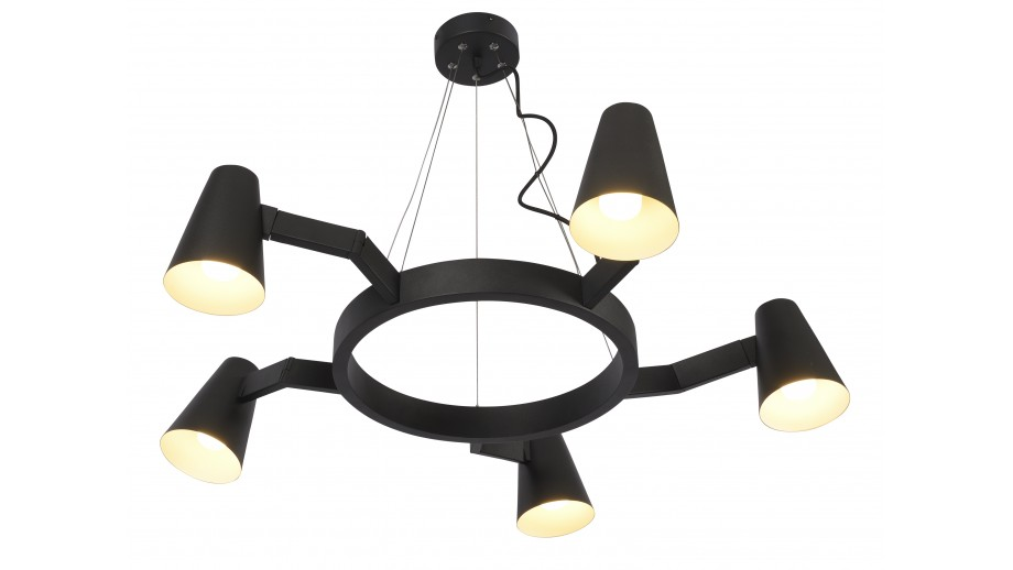 Suspension chandelier 5 branches en métal noir mat - Collection Chandelier - It's About Romi