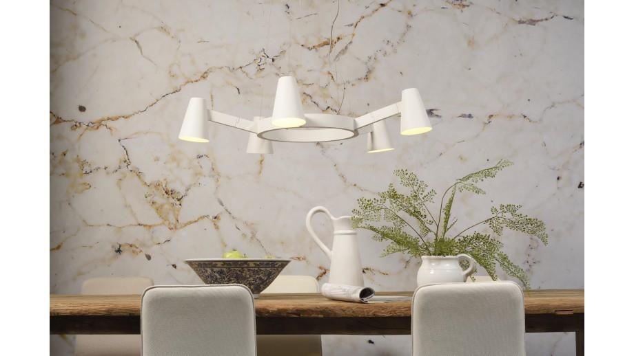 Suspension chandelier 5 branches en métal blanc mat - Collection Chandelier - It's About Romi