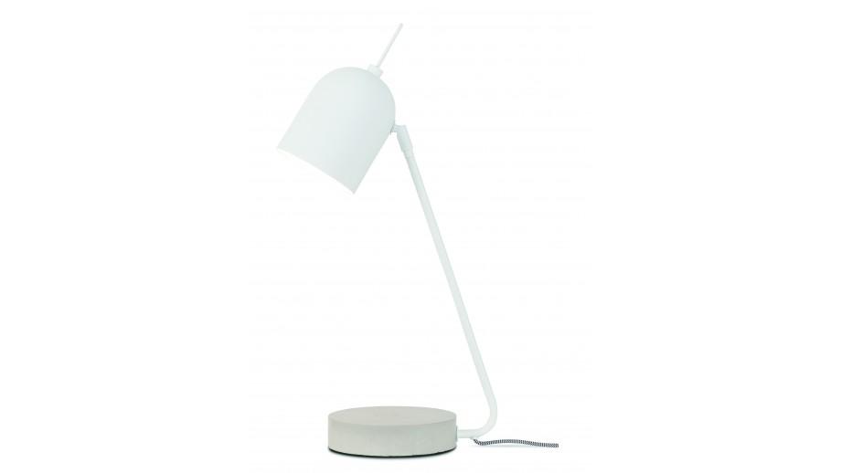 Lampe à poser base en ciment abat jour en métal blanc - Collection Madrid - It's About Romi