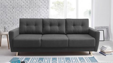 Canapé 3 places convertible scandinave en tissu gris anthracite Kalix - Avec couchage 132x190 cm, tissu premium