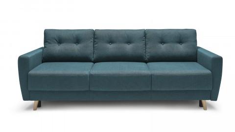 Canapé 3 places convertible scandinave en tissu bleu canard Kalix - Avec couchage 132x190 cm, tissu premium