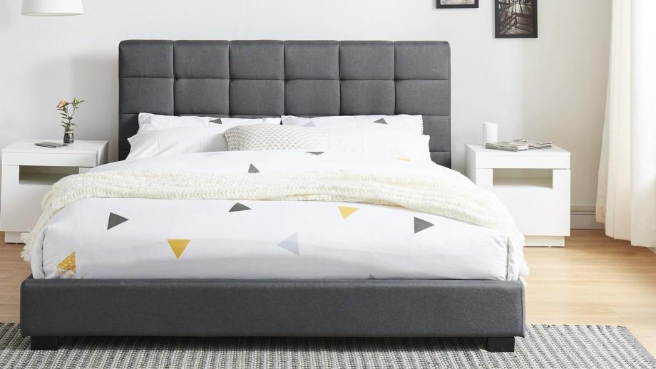 Lit adulte avec tête de lit capitonnée en tissu gris foncé, sommier à lattes, 180x200 - Collection William