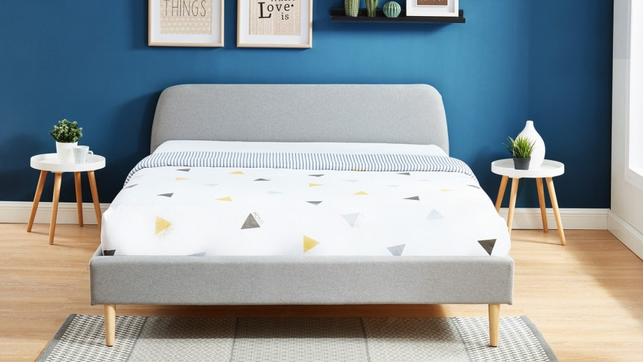 Lit adulte scandinave 180x200 gris clair - Collection Gaby