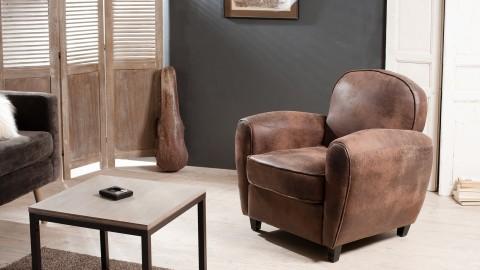 Fauteuil club en simili cuir marron - Collection Kate