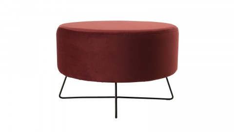 Pouf rond en velours rouge bordeaux - Collection Agathe
