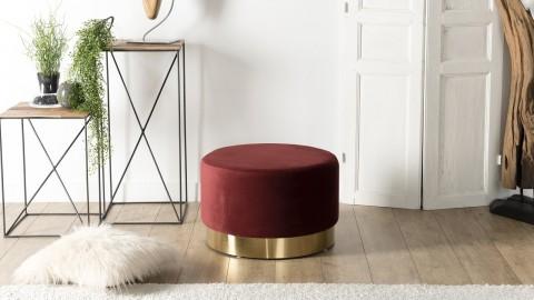 Pouf rond en velours rouge bordeaux ceinture dorée - Collection Agathe