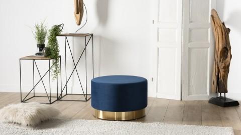 Pouf rond en velours bleu marine ceinture dorée - Collection Agathe