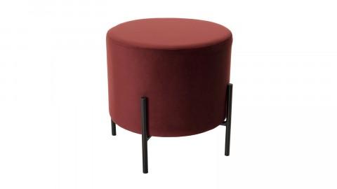 Pouf rond en velours rouge bordeaux piètement métal noir - Collection Agathe