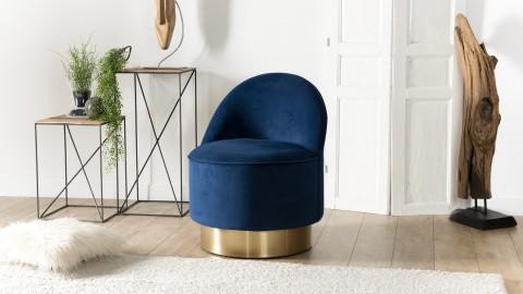 Fauteuil en velours bleu marine piètement doré - Collection Agathe