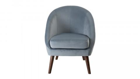 Fauteuil scandinave en velours bleu clair piètement en bois - Agathe
