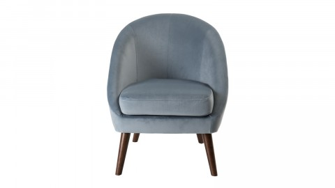 Fauteuil scandinave en velours bleu clair piètement en bois - Collection Agathe
