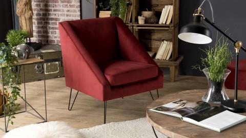Fauteuil en velours rouge bordeaux piètement épingle en métal noir - Collection Agathe