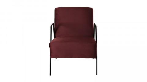 Fauteuil lounge en velours rouge bordeaux - Agathe