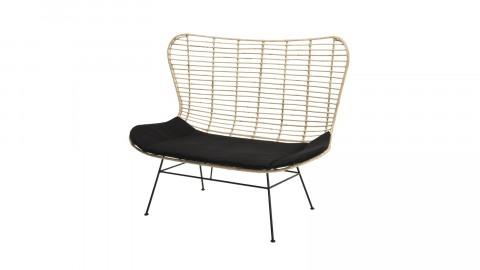 Canapé 2 places en rotin piètement métal noir - Collection Camille