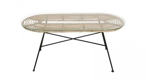 Table basse ovale en rotin plateau en verre piètement métal - Collection Camille