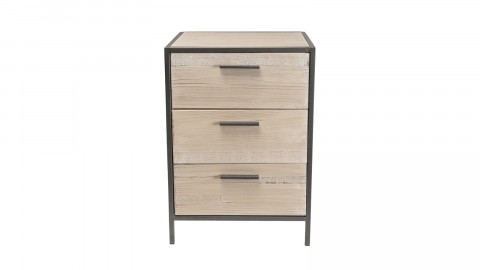 Chevet 3 tiroirs sapin et métal - Collection Carla