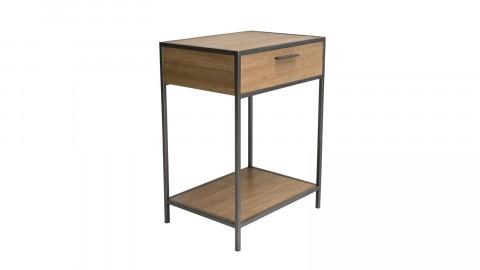 Chevet 1 tiroir 1 étagère sapin et métal - Collection Carla