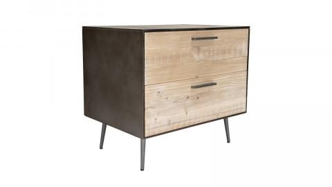 Chevet 2 tiroirs sapin et métal - Collection Carla